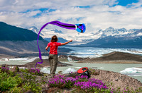 Product testing at the foot of the Nizina Glacier, Wrangell Mountains