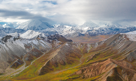 Late August termination dust frosting the north side of the Alaska Range near Polychrome Pass, Denali National Park